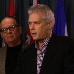 Dr. MacQueen and Architect Bill Brinnier, Dec. 10 2014 Press Conference, Parliamentary Press Gallery